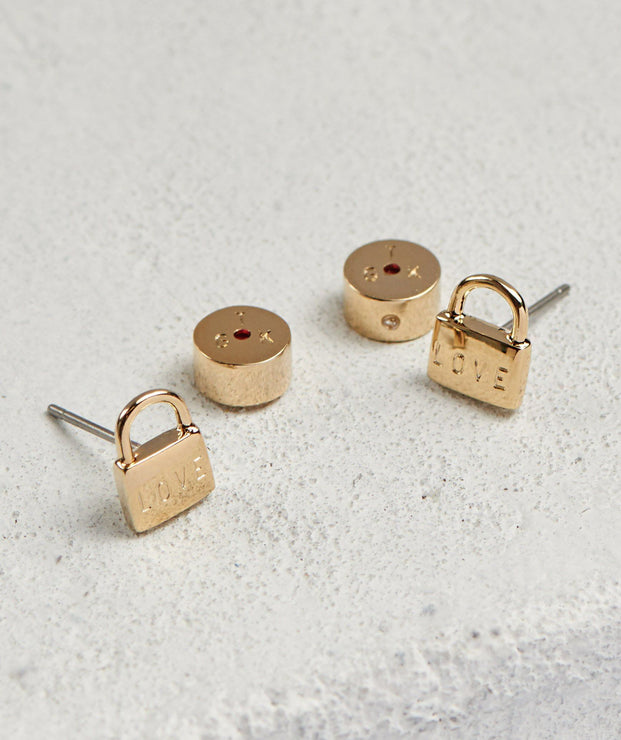LOVE Mini Padlock Post Earrings