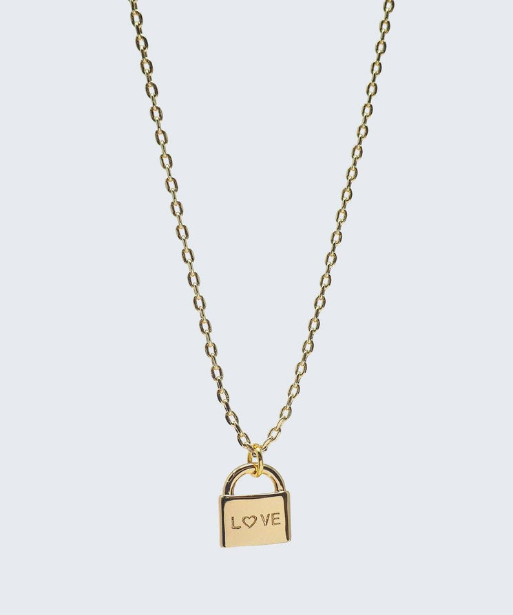 L♡VE Mini Padlock Necklace Necklaces The Giving Keys L♡VE Gold
