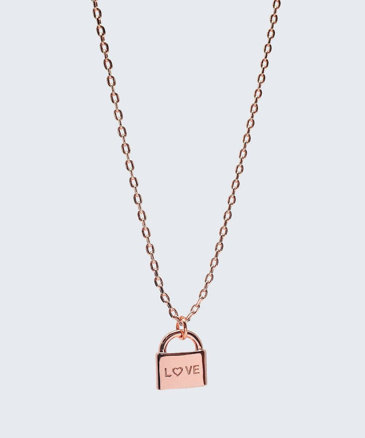 L♡VE Mini Padlock Necklace Necklaces The Giving Keys L♡VE Rose Gold
