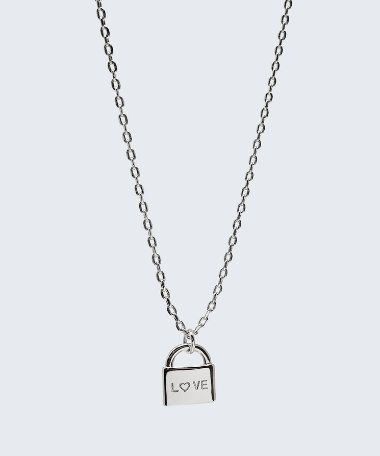 L♡VE Mini Padlock Necklace Necklaces The Giving Keys L♡VE Silver