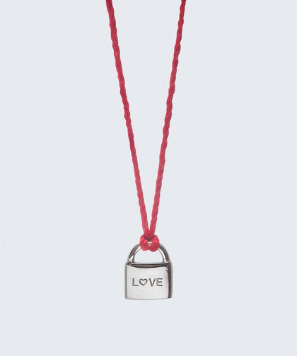 L♡VE Mini Padlock Thread Necklace Necklaces The Giving Keys L♡VE Silver