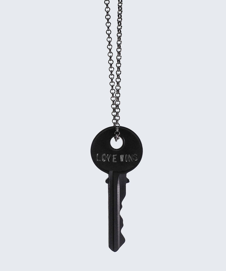 LOVE WINS Antique Charcoal Classic Key Necklace Necklaces The Giving Keys LOVE WINS Matte Black
