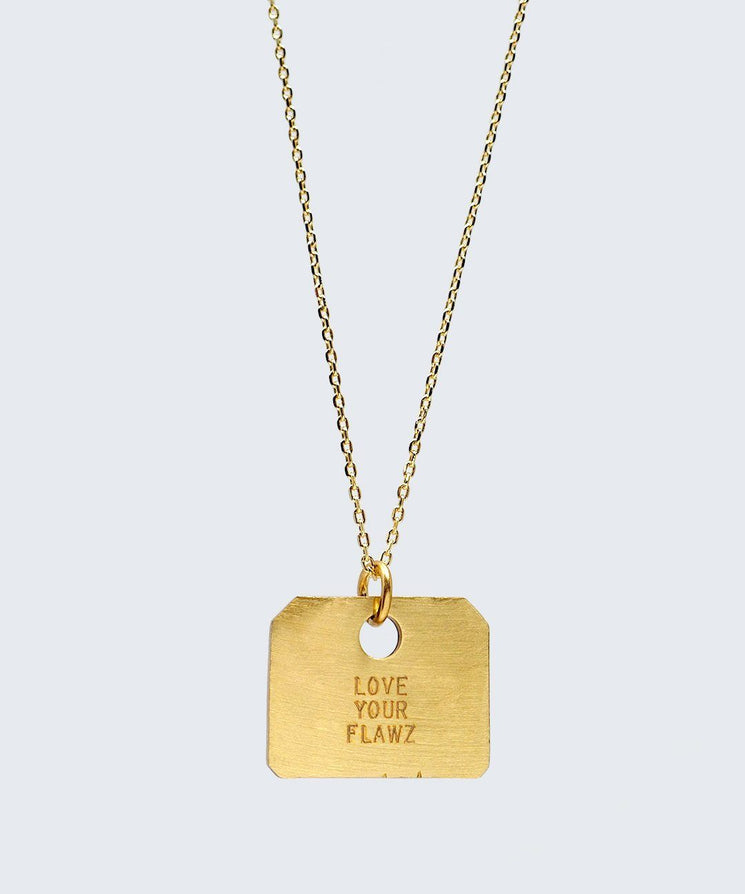 Love Your Flawz Square Pendant Necklace Necklaces The Giving Keys LOVE YOUR FLAWZ GOLD