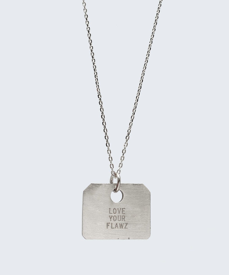 Love Your Flawz Square Pendant Necklace Necklaces The Giving Keys LOVE YOUR FLAWZ SILVER
