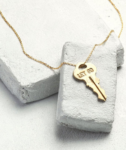 LET GO Dainty Gold Key Necklace Necklaces The Giving Keys LET GO Dainty Gold