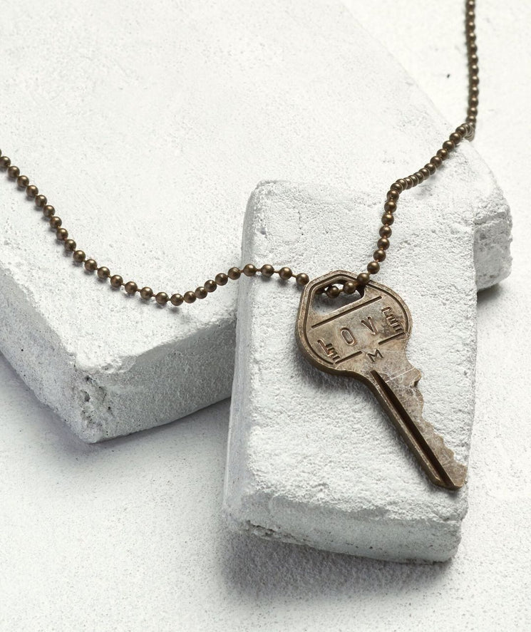 Brass Ball Chain Key Necklace Necklaces The Giving Keys LOVE Brass Ball