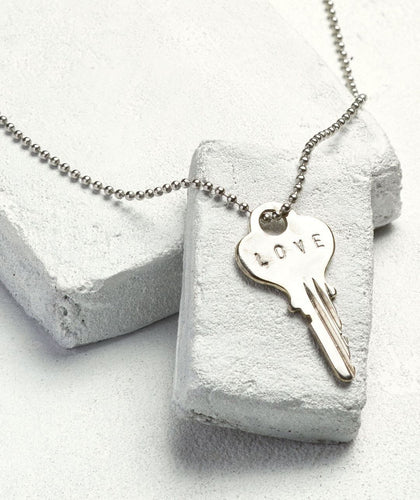Silver Ball Chain Key Necklace Necklaces The Giving Keys LOVE Silver Ball