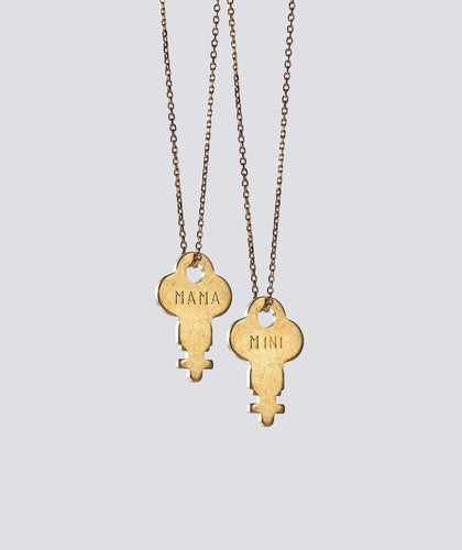 MAMA + MINI Gold Dainty Key Necklace Set (2) Necklaces The Giving Keys MAMA / MINI GOLD