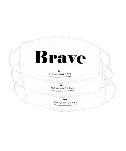 Essential Face Mask in BRAVE (3-Pack) Face Mask The Giving Keys BRAVE WHITE