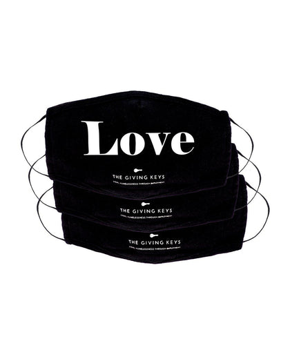 Essential Face Mask in LOVE (3-Pack) Face Mask The Giving Keys BLACK LOVE