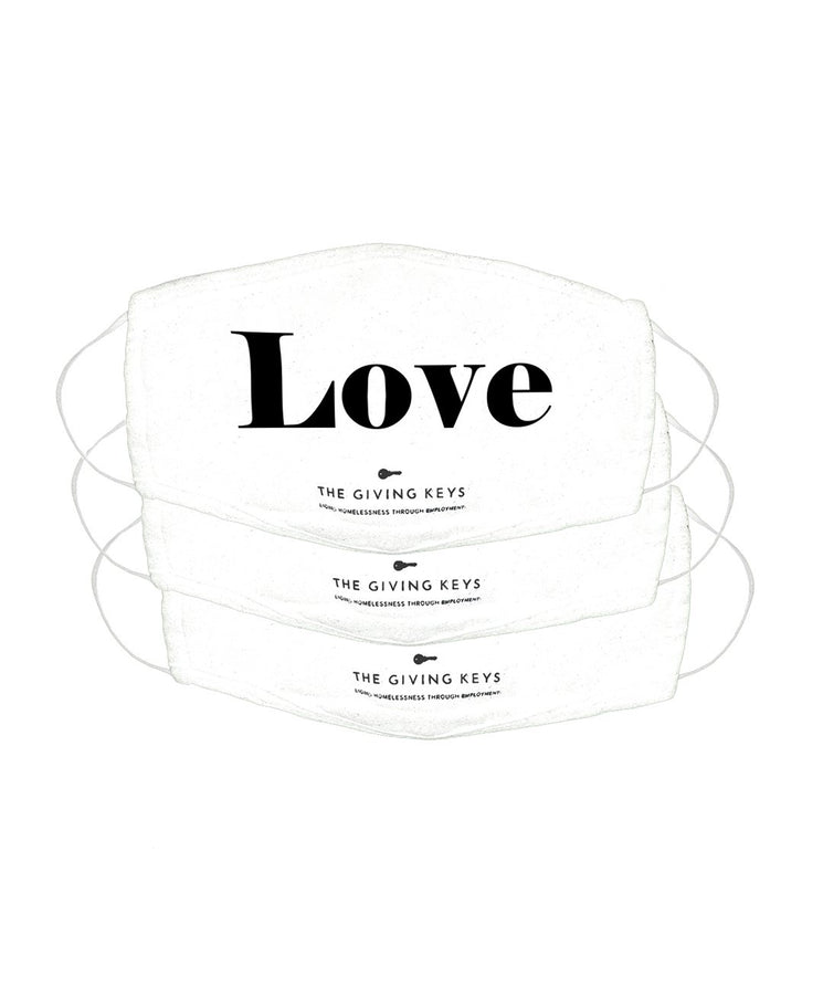 Essential Face Mask in LOVE (3-Pack) Face Mask The Giving Keys WHITE LOVE