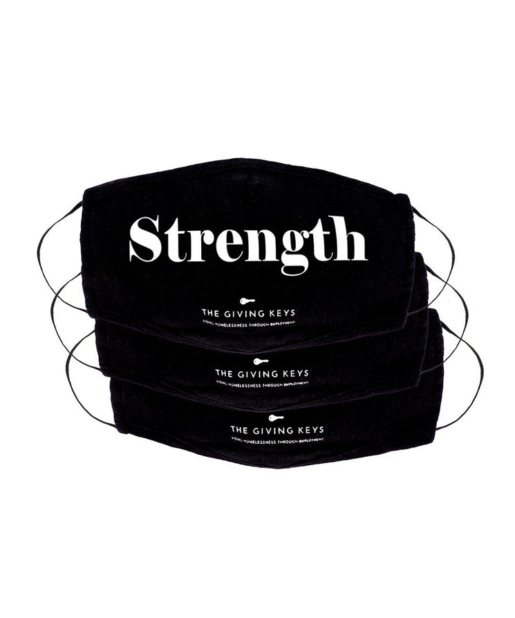 Essential Face Mask in STRENGTH (3-Pack) Face Mask The Giving Keys BLACK STRENGTH