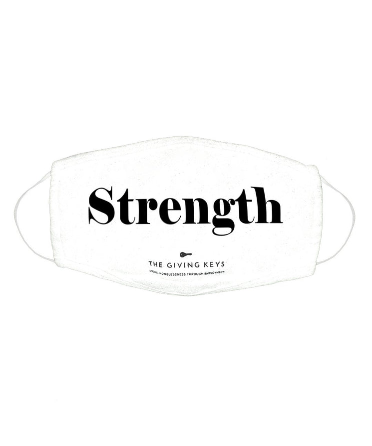 Essential Face Mask in STRENGTH (3-Pack) The Giving Keys WHITE STRENGTH