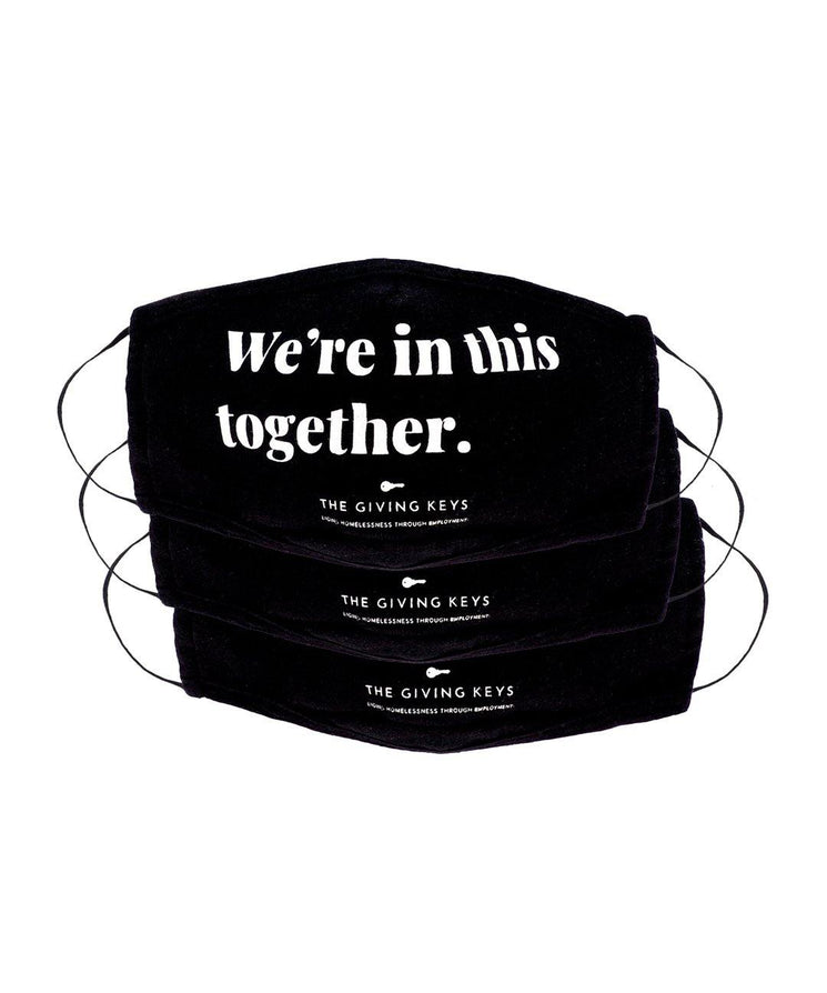 WE'RE IN THIS TOGETHER Essential Face Mask (3-Pack) Face Mask The Giving Keys BLACK WE'RE IN THIS TOGETHER