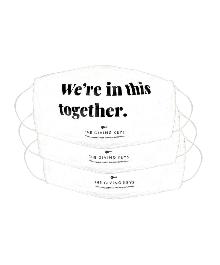 WE'RE IN THIS TOGETHER Essential Face Mask (3-Pack) Face Mask The Giving Keys WHITE WE'RE IN THIS TOGETHER