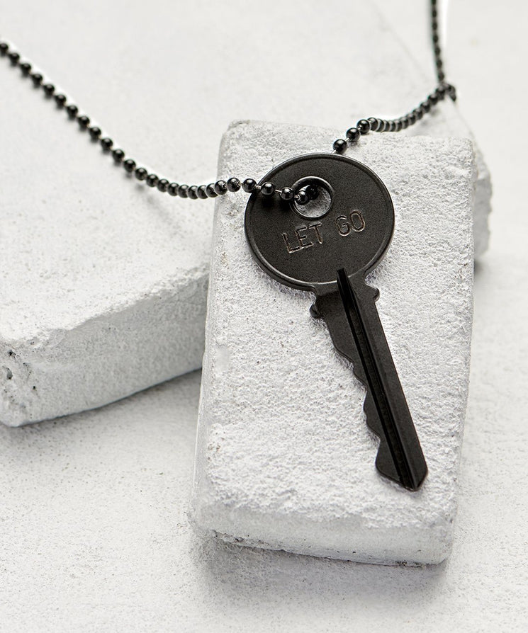 LET GO Matte Black Classic Key Necklace The Giving Keys