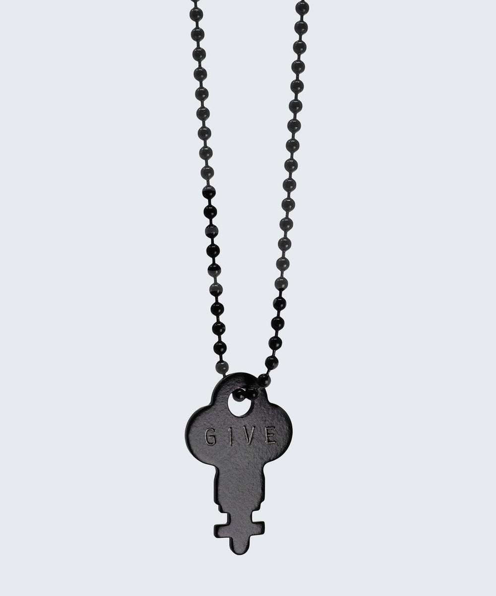Matte Black Dainty Key Ball Chain Necklace The Giving Keys