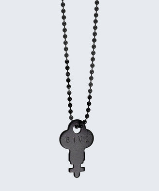 Matte Black Dainty Key Ball Chain Necklace Necklaces The Giving Keys CUSTOM MATTE BLACK