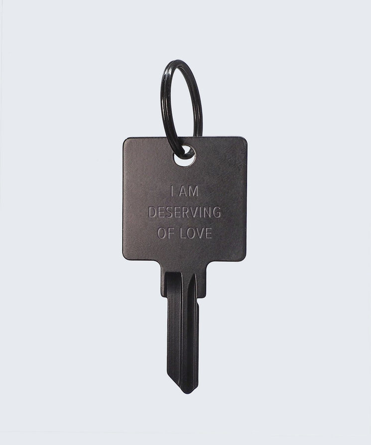 I Am Deserving of Love Keychain Key Chain The Giving Keys I AM DESERVING OF LOVE MATTE BLACK