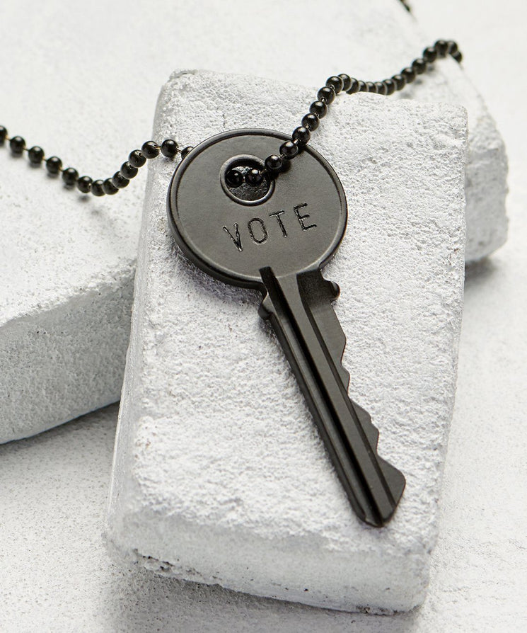 VOTE Matte Black Key Necklace Necklaces The Giving Keys VOTE