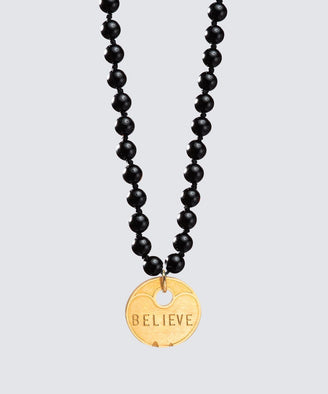 Onyx Meditation Bead Coin Pendant The Giving Keys GOLD BELIEVE