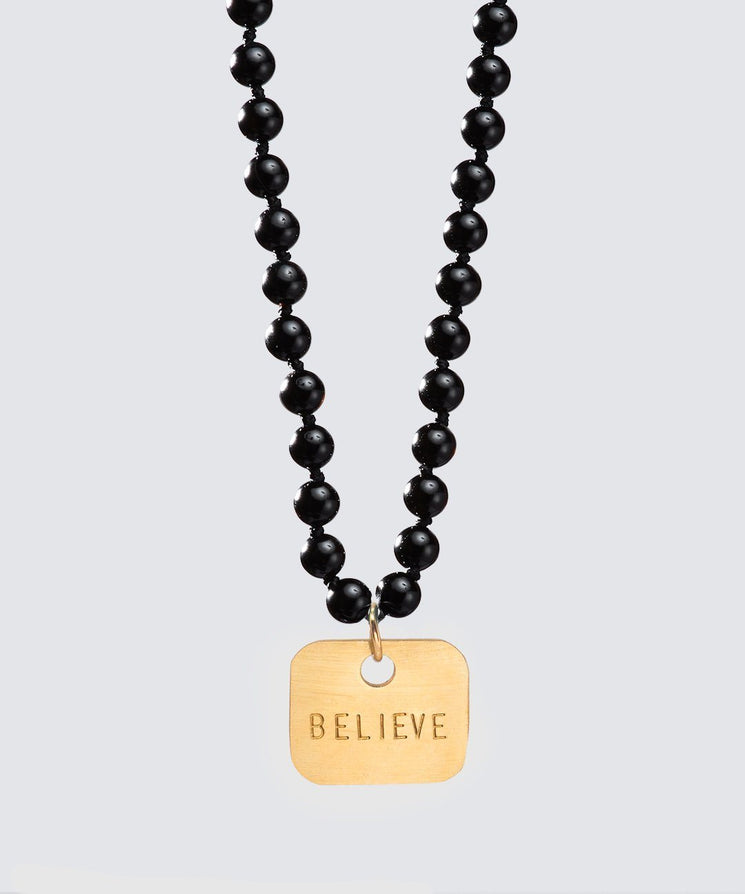 Onyx Meditation Bead Square Pendant Necklace The Giving Keys