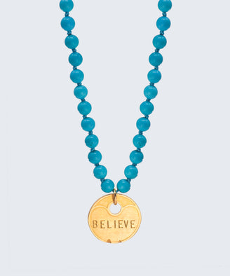 Turquoise Meditation Bead Coin Pendant