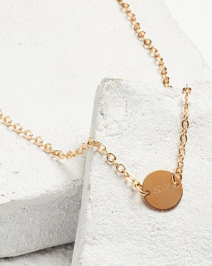 Never Ending Disc Necklace Necklaces The Giving Keys LOVE Gold