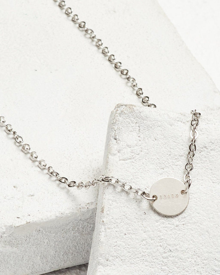 Never Ending Disc Necklace Necklaces The Giving Keys FAITH Silver