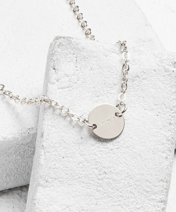 Never Ending Disc Necklace Necklaces The Giving Keys STRENGTH Silver