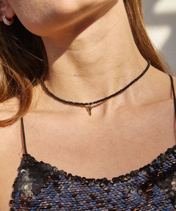 Onyx Gemstone Mini Key Choker Necklaces The Giving Keys