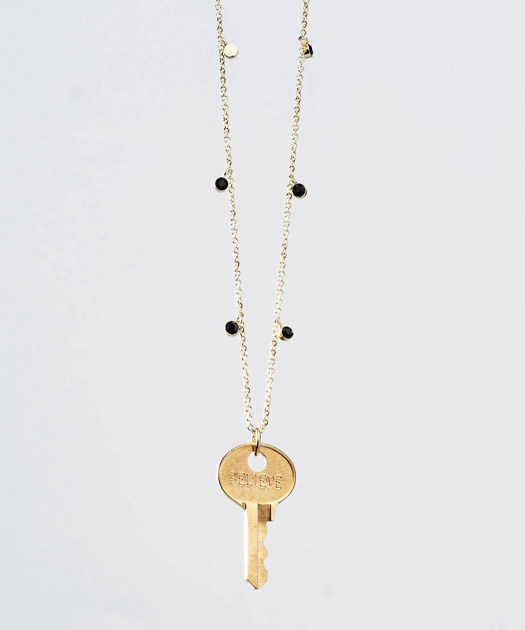 Onyx Droplet Beaded Dainty Key Necklace Necklaces The Giving Keys BELIEVE ONYX