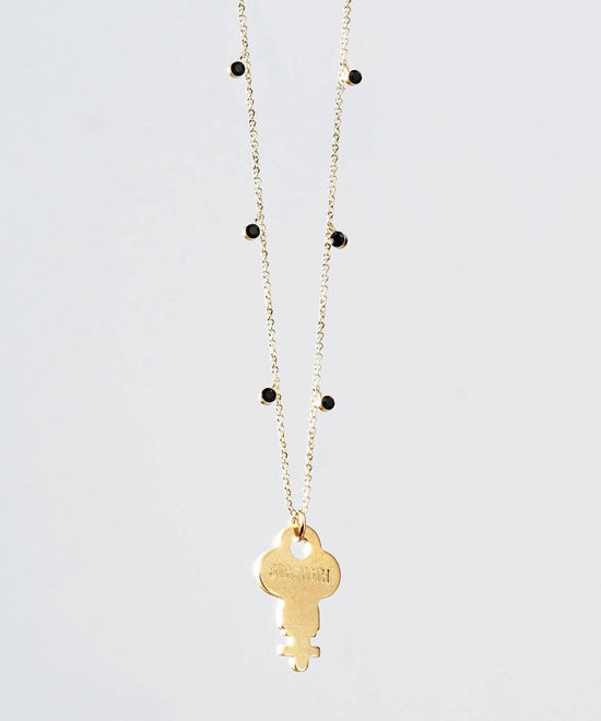 Pyrite Droplet Beaded Dainty Key Necklace Necklaces The Giving Keys