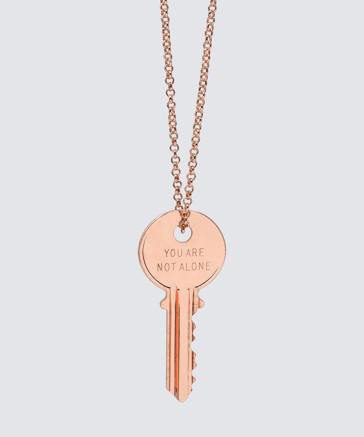 YOU ARE NOT ALONE Classic Key Necklace Necklaces The Giving Keys YOU ARE NOT ALONE ROSE GOLD