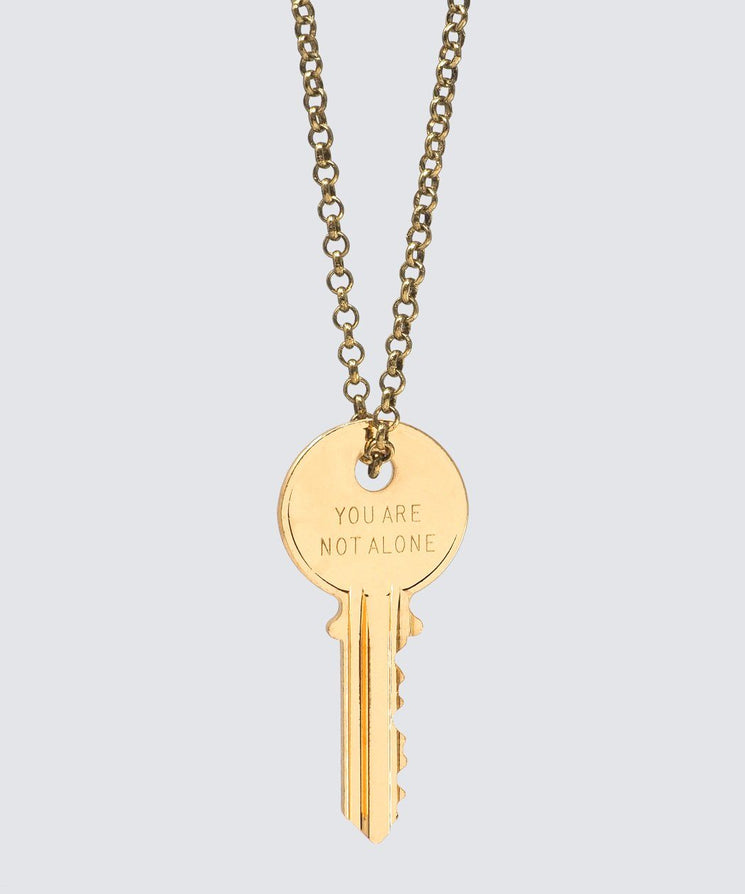 YOU ARE NOT ALONE Classic Key Necklace Necklaces The Giving Keys YOU ARE NOT ALONE GOLD