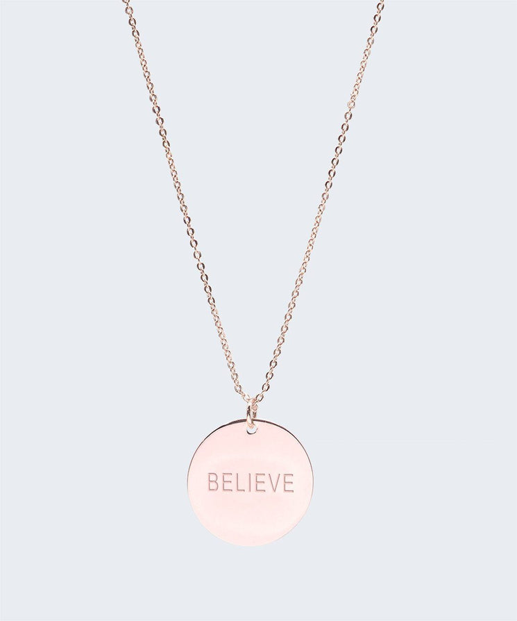 Large Disc Pendant Necklace Necklaces The Giving Keys BELIEVE Rose Gold
