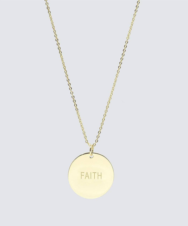 Large Disc Necklace Necklaces The Giving Keys FAITH Gold
