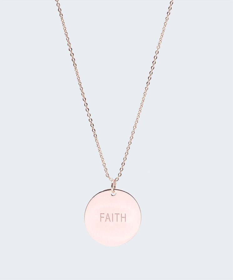 Large Disc Pendant Necklace Necklaces The Giving Keys FAITH Rose Gold