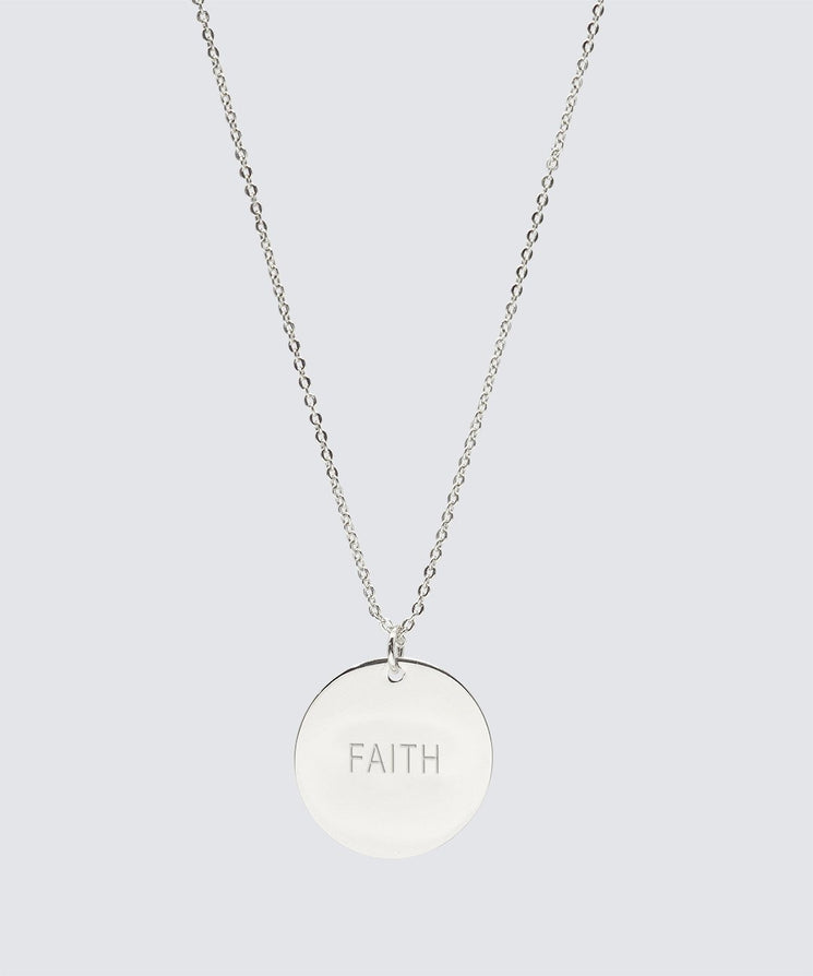Large Disc Necklace Necklaces The Giving Keys FAITH Silver