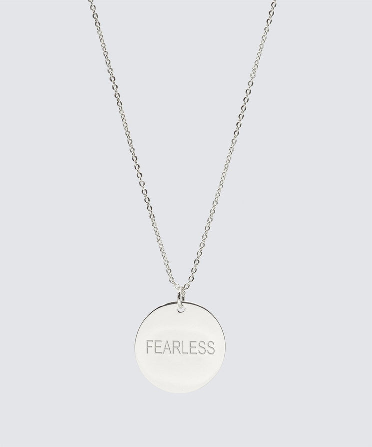 FEARLESS Large Disc Pendant Necklace Necklaces The Giving Keys FEARLESS Silver