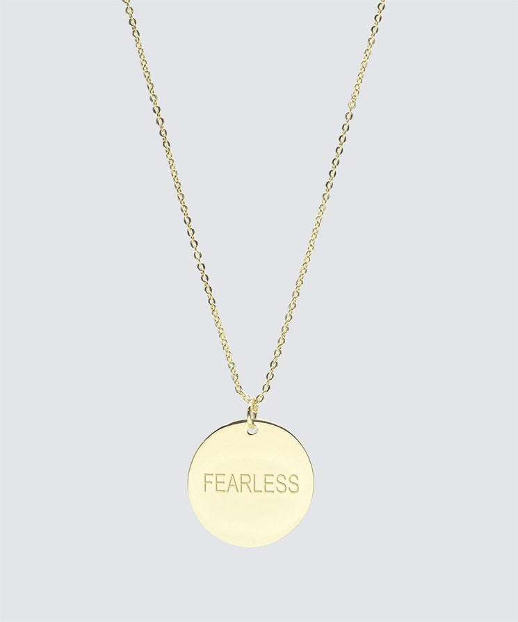 FEARLESS Large Disc Pendant Necklace Necklaces The Giving Keys FEARLESS Gold