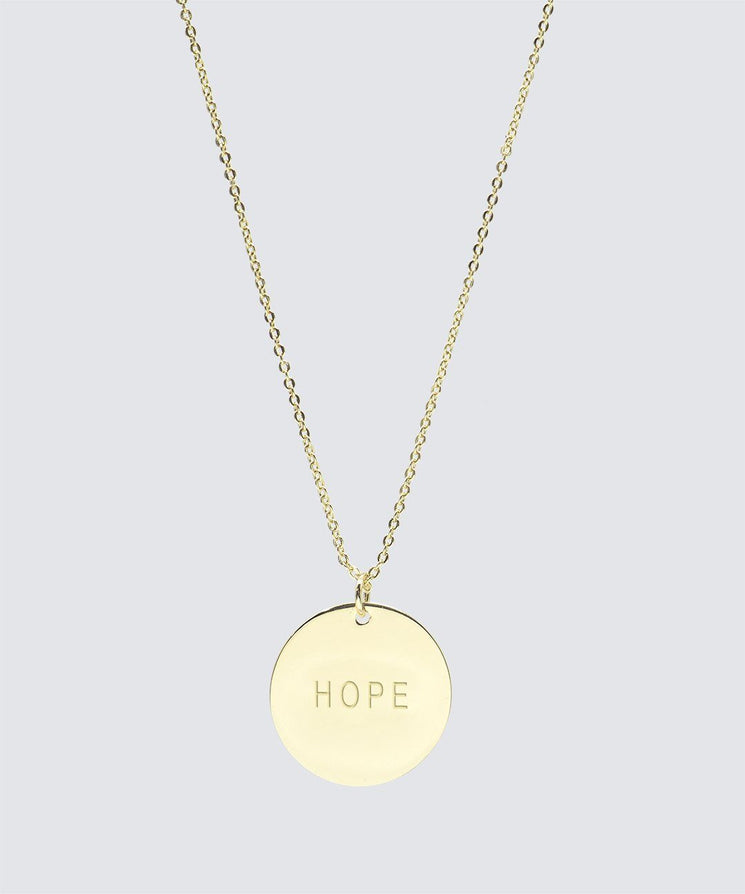 Large Disc Necklace Necklaces The Giving Keys HOPE Gold