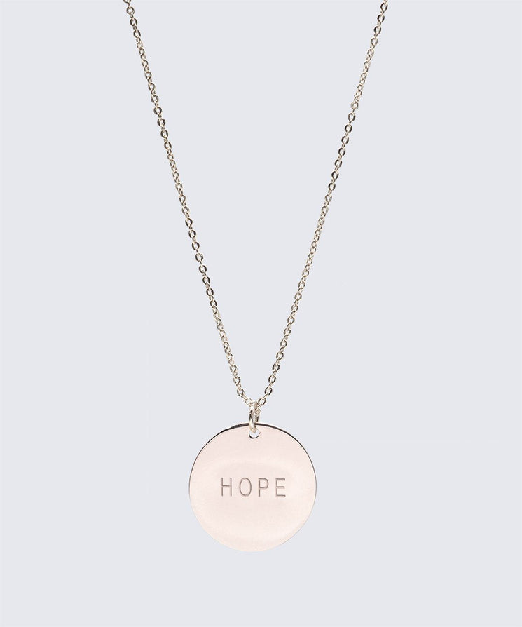 Large Disc Pendant Necklace Necklaces The Giving Keys HOPE Rose Gold