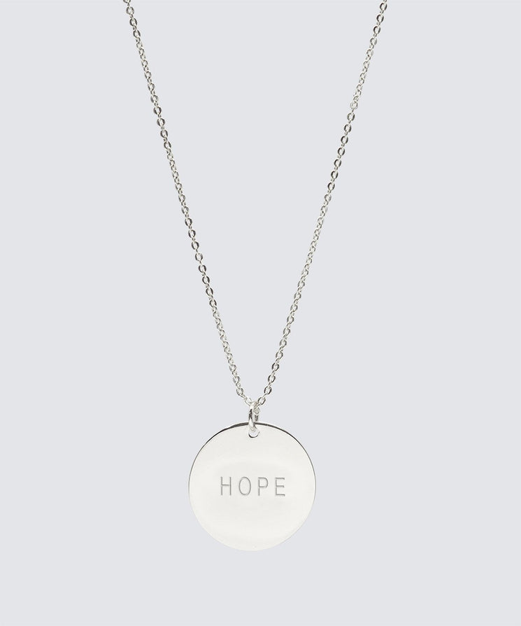 Large Disc Necklace Necklaces The Giving Keys HOPE Silver