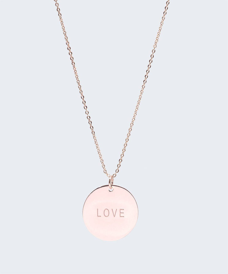 Large Disc Pendant Necklace Necklaces The Giving Keys LOVE Rose Gold