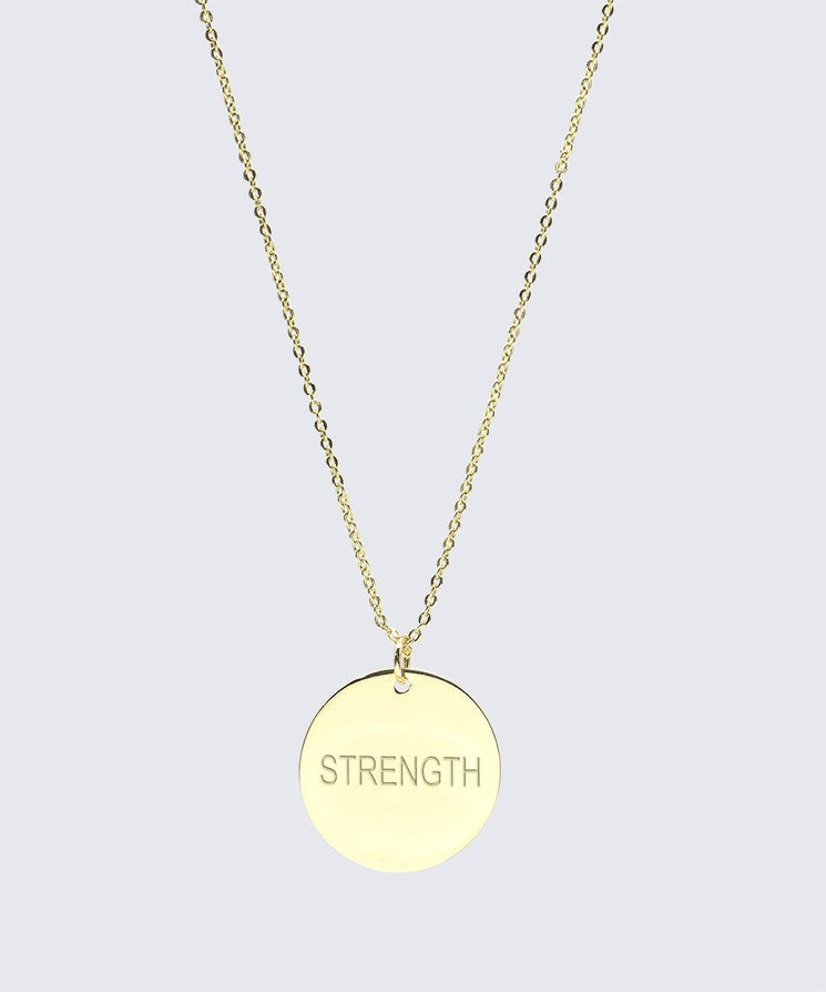 Large Disc Pendant Necklace Necklaces The Giving Keys STRENGTH Gold