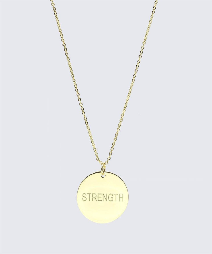 FEARLESS Large Disc Pendant Necklace Necklaces The Giving Keys STRENGTH Gold