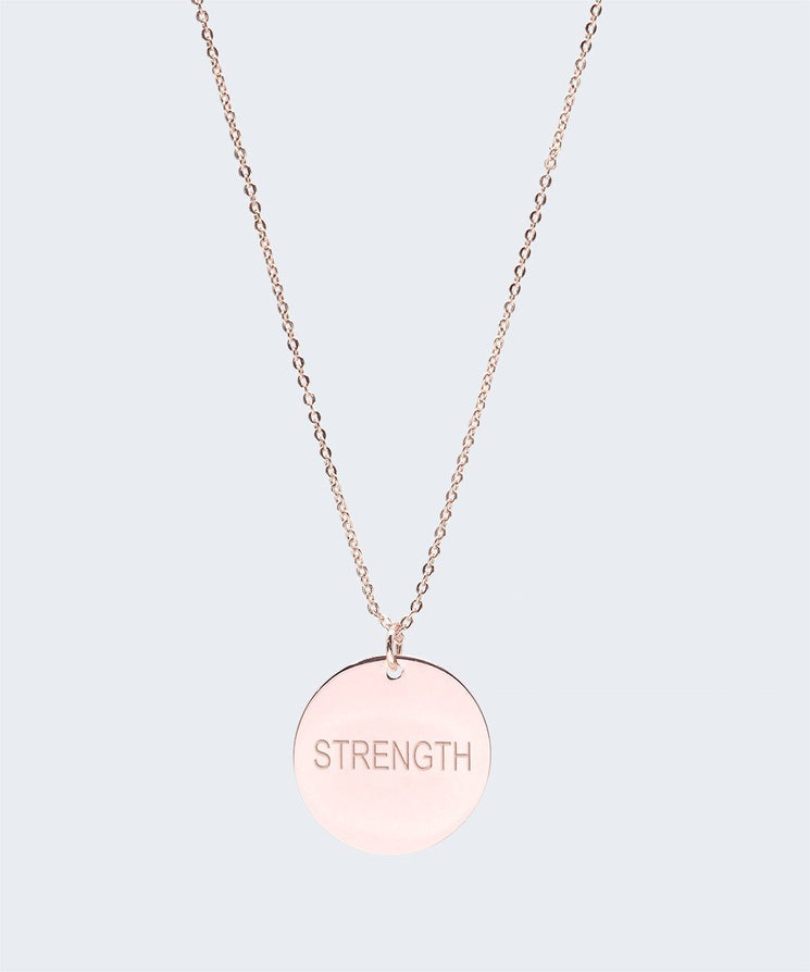Large Disc Pendant Necklace Necklaces The Giving Keys STRENGTH Rose Gold