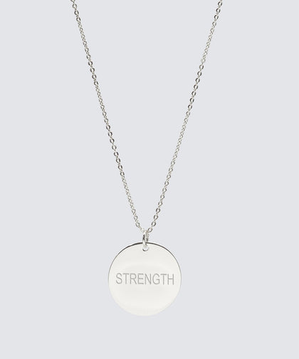 FEARLESS Large Disc Pendant Necklace Necklaces The Giving Keys STRENGTH Silver
