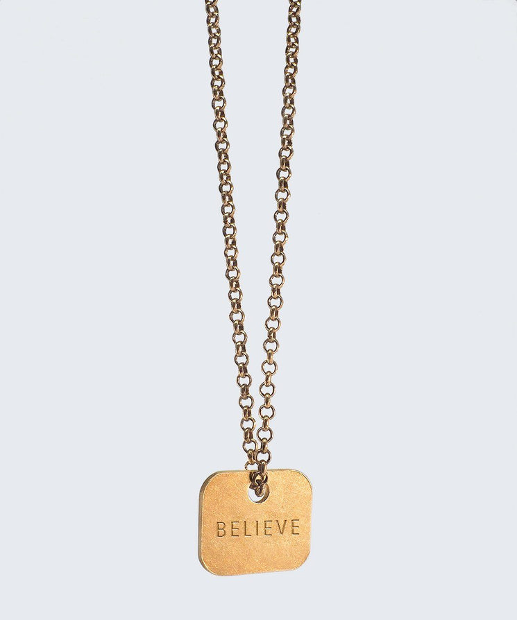 Square Pendant Extra Long Necklace Necklaces The Giving Keys BELIEVE Gold
